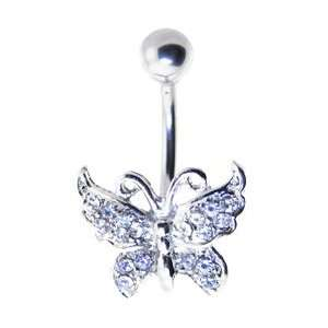 Crystalline Jeweled Butterfly Banana Belly Ring Jewelry
