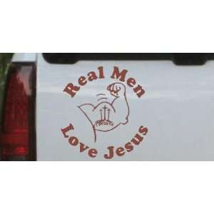 6in X 5.6in Brown    Real Men Love Jesus Christian Car Window Wall