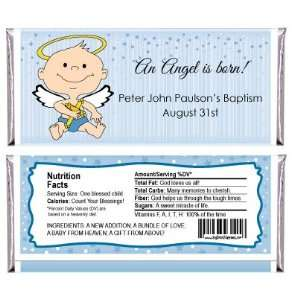 Angel Baby Boy   Personalized Candy Bar Wrapper Baptism Favors Baby