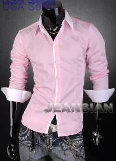 VVW New Mens Designer White Line Shirts Top Pink 1073 XL~
