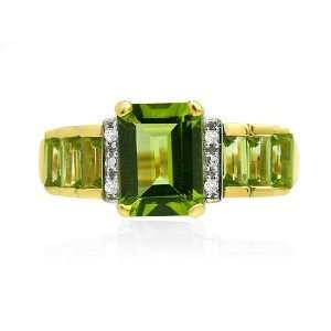 9ct Yellow Gold Peridot & Diamond Ring Size 6 Jewelry