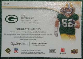 CLAY MATTHEWS 09 SP AUTHENTIC GOLD AUTO RC /25 PACKERS