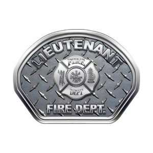 Firefighter Fire Helmet Front Face Lieutenant Diamond Plate Decal