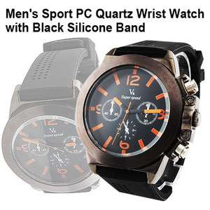 PC Quartz Sports Wrist Watch w/ Black Silicone Band 4.6 cm Round Dial