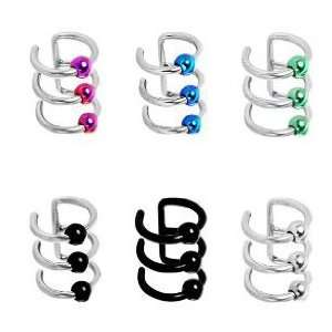 316L Surgical Steel Black Captive Bead Rings Cartilage Earrings Non