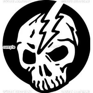 LIGHTNING THROUGH SKULL 10 WHITE VINYL DECAL STICKER