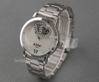 L358 Unisex Men Lady White Heart Hollow Out Quartz Stainless Steel