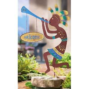 Kokopelli Welcome Yard Stake