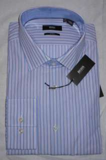 NWT Hugo Boss Black Juri Slim Fit Spread Collar Striped Dress Shirt