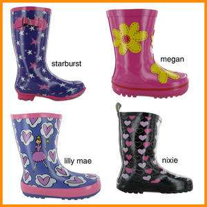 KIDS GIRLS PINK RUBBER WELLIES RAIN SNOW WELLY BOOTS UK