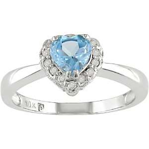 10K White Gold .07 ctw Diamond and Blue Topaz Heart Ring Jewelry