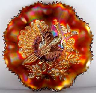 PEACOCKS by NORTHWOOD ~ BLAZING AMETHYST CARNIVAL GLASS 8 RUFFLE BOWL