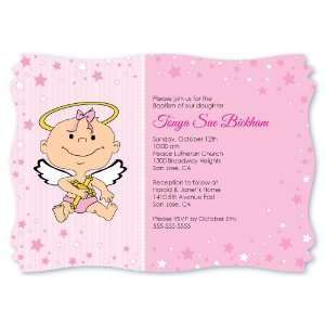 Angel Baby Girl   Personalized Baptism Invitations With