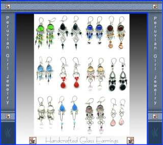 100 MURANO GLASS BEADS EARRINGS PERUVIAN JEWELRY PERU