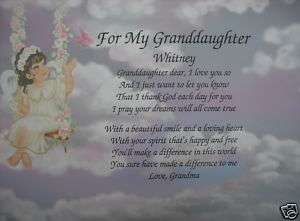 ANGEL GRANDDAUGHTER PERSONALIZED POEM THE PERFECT GIFT