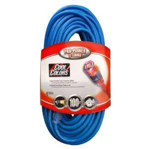 Cable 02579 0H 100 Foot 12/3 Neon Outdoor Extension Cord, Bright Blue