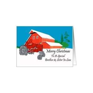Brother And Sister In Law Antique Tractor Christmas Card