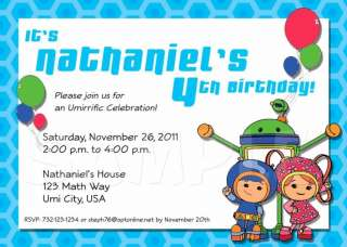 TEAM UMIZOOMI Birthday Party Personalized Custom Invitation   Multiple