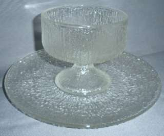 TREE BARK CRYSTAL ICE INDIANA GLASS VINTAGE SHERBET W PLATE CRYSTAL