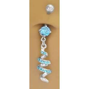Aqua Lt Blue Cubic Zirconia Swirl Dangle Belly button Navel Ring 14
