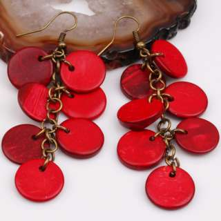 Red Coconut Shell Button Coin Bead Dangle Earrings 1pcs