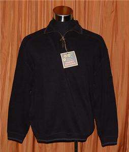 Tommy Bahama RELAX BLACK PULLOVER ARUBA ZIP 100% COTTON SWEATER MENS