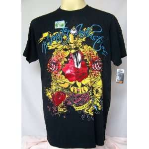 CLEARANCE SALE CHEAP Rock Roses Biker Hard Death Punk Skull Foil T