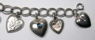 Vintage Sterling Silver Hearts Charm Bracelet   11 Charms   Sweetheart