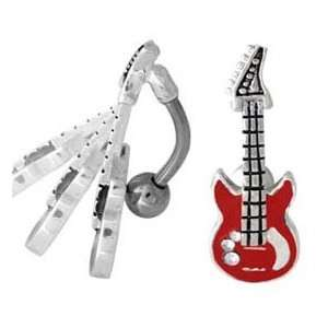 Red Guitar Rock n Roll Reverse Top Mount Belly button Navel Ring 14