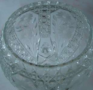 Beautiful Antique Round 3 Footed Cut Crystal Bowl 7