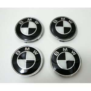 4 X BMW Black Wheel Center Caps, Badge, Emblem 68mm