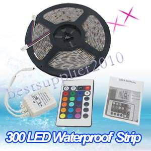 New WaterProof 12V 5M 5050 RGB 300 SMD LED Light Strip + IR Remote USA
