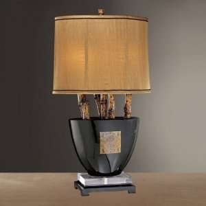 Lamps 10934 Table Lamp Black Glass with faux bamboo