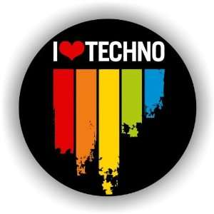 I Love TECHNO music festival car bumper sticker 4 x 4