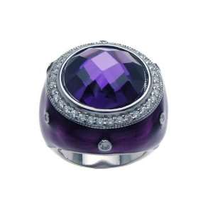 Sterling Silver Purple Centered CZ Ring Size 7 Jewelry