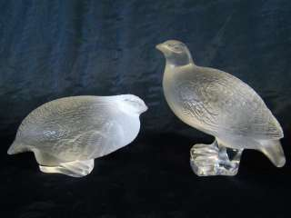 Guaranteed Antique Pair French Lalique Life Size Quails