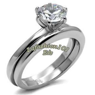 Solitaire Stainless Steel Wedding/Engagement Ring Set SIZE 6 10