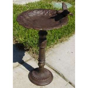 Cast Iron Flower Bird Bath with Hummingbird Patio, Lawn