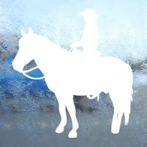 Western COWGIRL On Horse White Decal Ranch Farm Car White