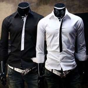 New Mens Casual Slim Fit Stylish Korean Style Dress Shirts Black White