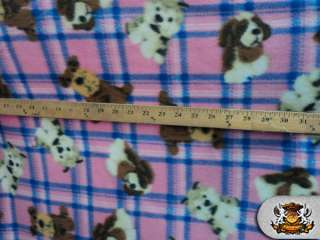 POLAR FLEECE FABRIC PRINTED *DOG CHECKER* BTY