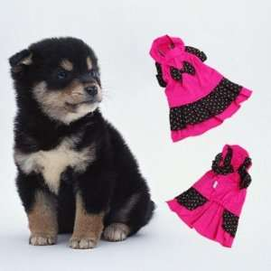 Shocking Pink & Black Pet Dog Dress Clothes Apparel Cotton