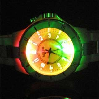 Mens 4 Colors LED Light 7 Modes White Wrist Watch