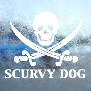 Scurvy Dog Skull White Decal Car Window Laptop White