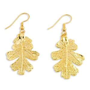 24k Gold Dipped Oak Leaf Dangle Earrings Jewelry