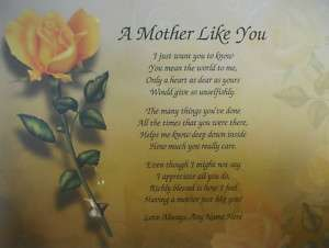 MOTHER LIKE YOU PERSONALIZED GIFT * POEM FOR MOM