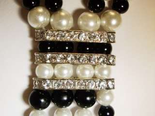 RARE~Art Deco Black & White Glass Bead RS Necklace~LOOK