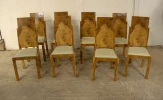 WALNUT ART DECO DINING TABLE CHAIRS CHAIR DINERS 1920