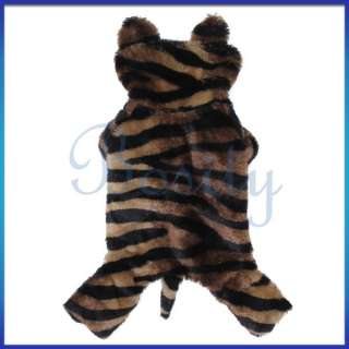 Pet Dog Tiger Costume Hoodie Hooded Coat Jumpsuit Clothes Apparel Warm
