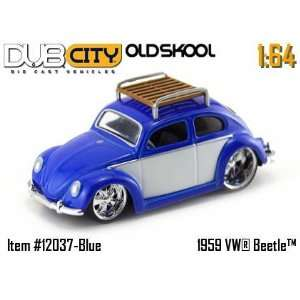 Dub City OldSkool Blue 1959 VW Beetle 164 Scale Die Cast Car Toys